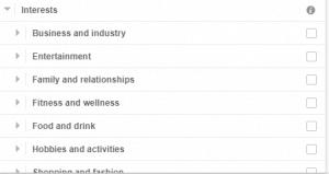 Facebook targeting interest
