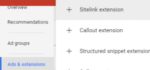 Google Adwords dental sitelink extension